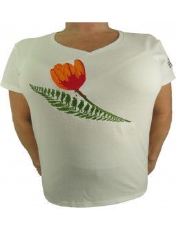 Embroidered Ladies Shirt: White Liberation Of Holland T-Shirt