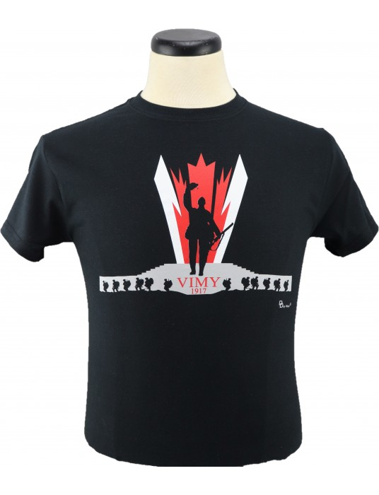 Armed Forces T-Shirts Vimy Ridge: Black Short-sleeve T-Shirt!