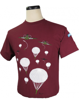 T-Shirt Embroidered Commemorating Airborne Troops And WWII Planes With Paratroopers