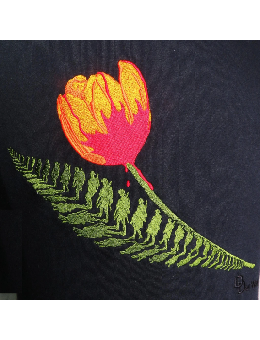 Ladies Embroidered Shirt: Liberation Of Holland Black T-Shirt