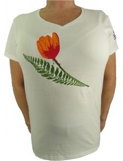 T-Shirts: Ladies Embroidered White T-shirt Commemorating The Liberation Of Holland