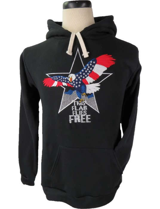 This Flag Flies Free Hoodie embroidered Made in America Pullover Hoodie