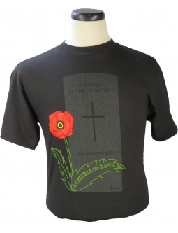 T-Shirt, Unisex, Crewneck, Black Cotton, Embroidered And Commemorating The Life Of An Unknown Soldier